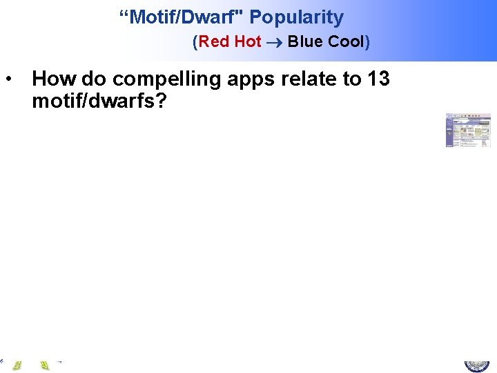 """""""Motif/Dwarf"""" Popularity (Red Hot Blue Cool) • How do compelling apps relate to 13"""