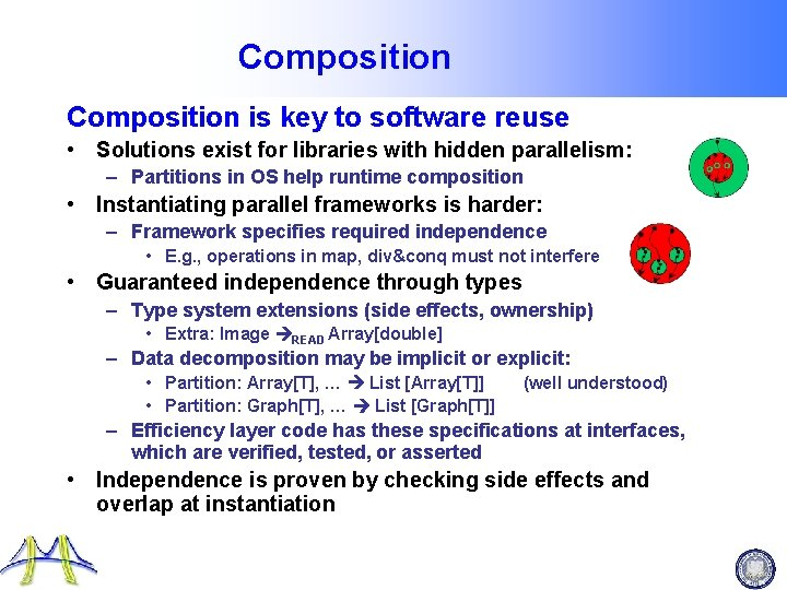Composition is key to software reuse • Solutions exist for libraries with hidden parallelism: