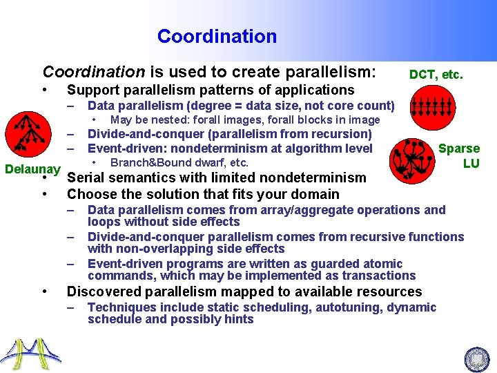 Coordination is used to create parallelism: • Support parallelism patterns of applications – Data