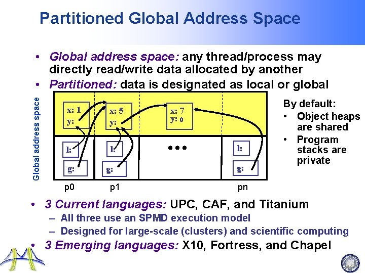 Partitioned Global Address Space Global address space • Global address space: any thread/process may