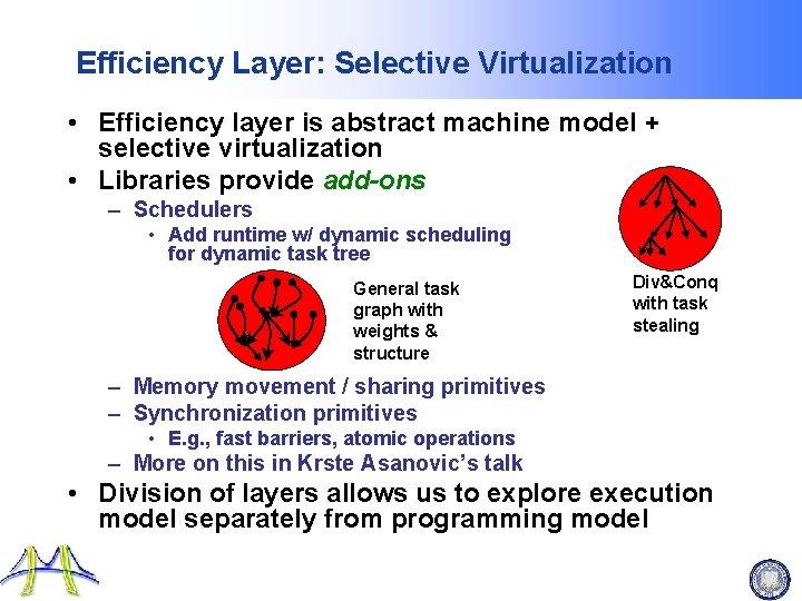 Efficiency Layer: Selective Virtualization • Efficiency layer is abstract machine model + selective virtualization