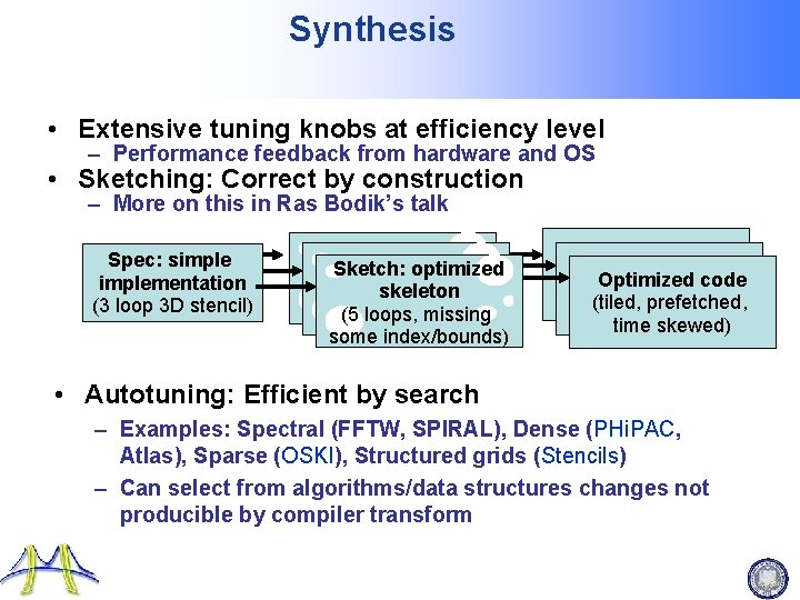 Synthesis • Extensive tuning knobs at efficiency level – Performance feedback from hardware and
