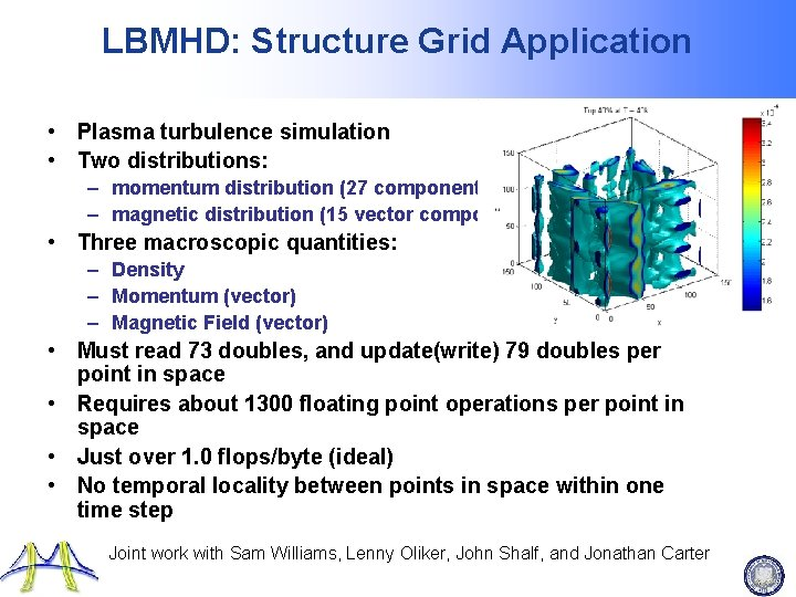 LBMHD: Structure Grid Application • Plasma turbulence simulation • Two distributions: – momentum distribution