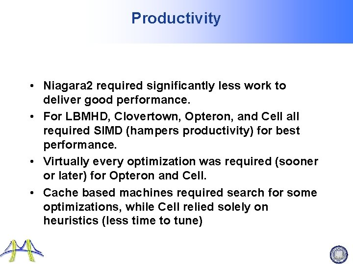 Productivity • Niagara 2 required significantly less work to deliver good performance. • For