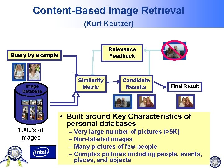 Content-Based Image Retrieval (Kurt Keutzer) Relevance Feedback Query by example Image Database 1000's of