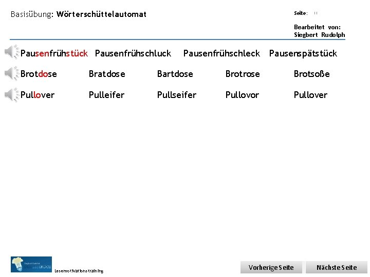 Übungsart: Basisübung: Wörterschüttelautomat Seite: Titel: Quelle: 11 Bearbeitet von: Siegbert Rudolph Pausenfrühstück Pausenfrühschluck Pausenfrühschleck