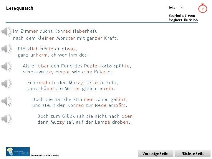 Übungsart: Lesequatsch Seite: Titel: Quelle: 8 Bearbeitet von: Siegbert Rudolph Im Zimmer sucht Konrad