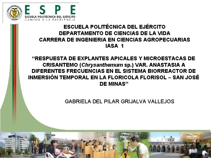 ESCUELA POLITÉCNICA DEL EJÉRCITO DEPARTAMENTO DE CIENCIAS DE LA VIDA CARRERA DE INGENIERIA EN