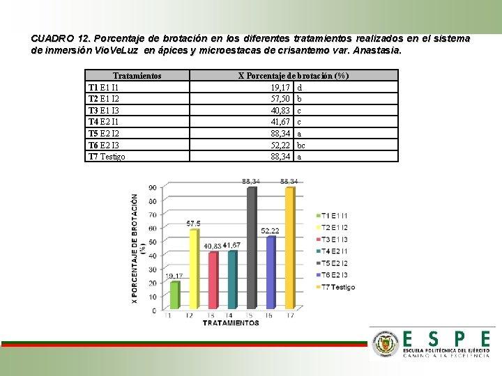CUADRO 12. Porcentaje de brotación en los diferentes tratamientos realizados en el sistema de