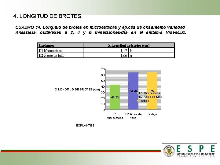 4. LONGITUD DE BROTES CUADRO 14. Longitud de brotes en microestacas y ápices de