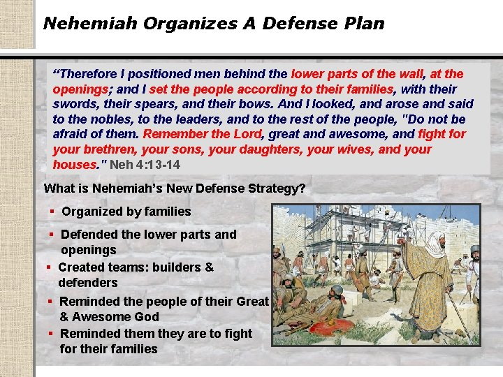 """Nehemiah Organizes A Defense Plan """"Therefore I positioned men behind the lower parts of"""