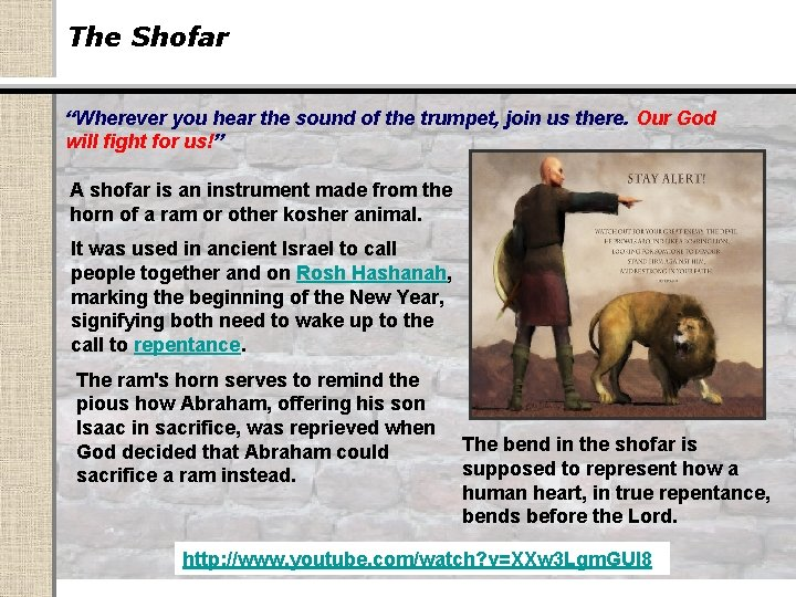 """The Shofar """"Wherever you hear the sound of the trumpet, join us there. Our"""