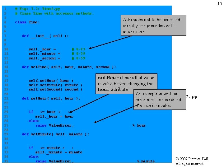 10 1 # Fig: 7. 7: Time 2. py 2 # Class Time with