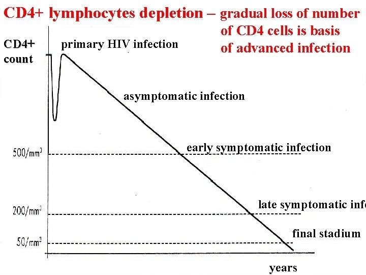 CD 4+ lymphocytes depletion – gradual loss of number CD 4+ count primary HIV
