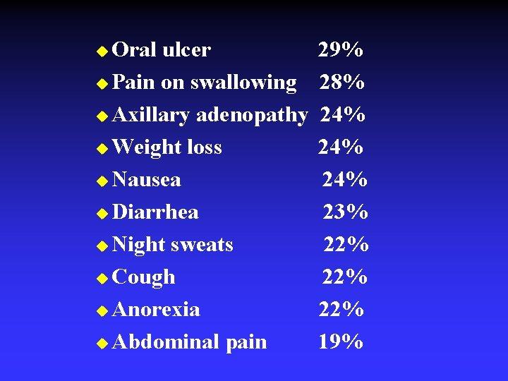 Oral ulcer u Pain on swallowing u Axillary adenopathy u Weight loss u Nausea