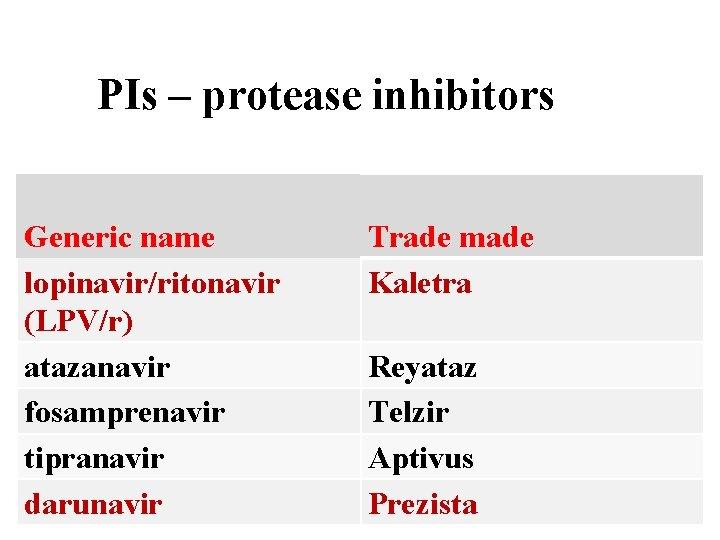 PIs – protease inhibitors Generic name lopinavir/ritonavir (LPV/r) atazanavir fosamprenavir tipranavir darunavir Trade made
