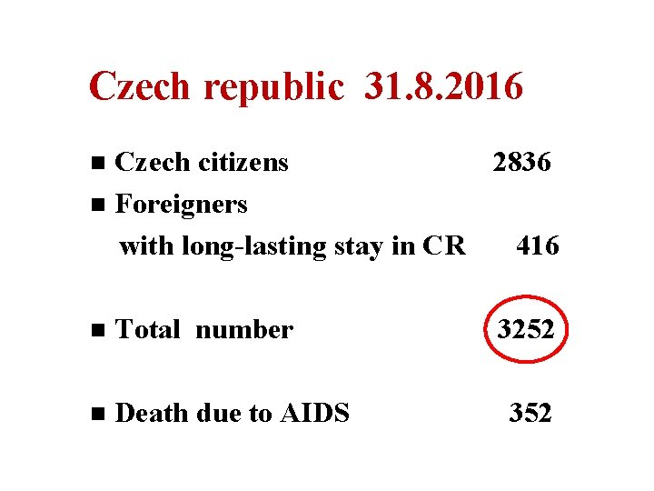 Czech republic 31. 8. 2016 Czech citizens 2836 n Foreigners with long-lasting stay in