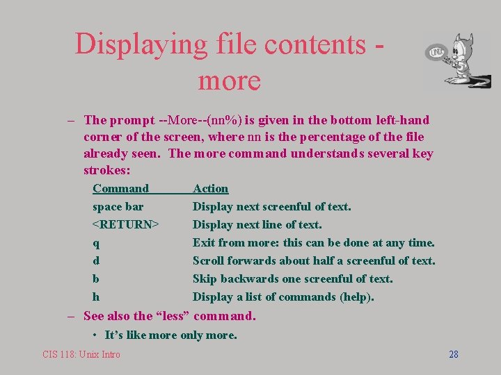 Displaying file contents more – The prompt --More--(nn%) is given in the bottom left-hand
