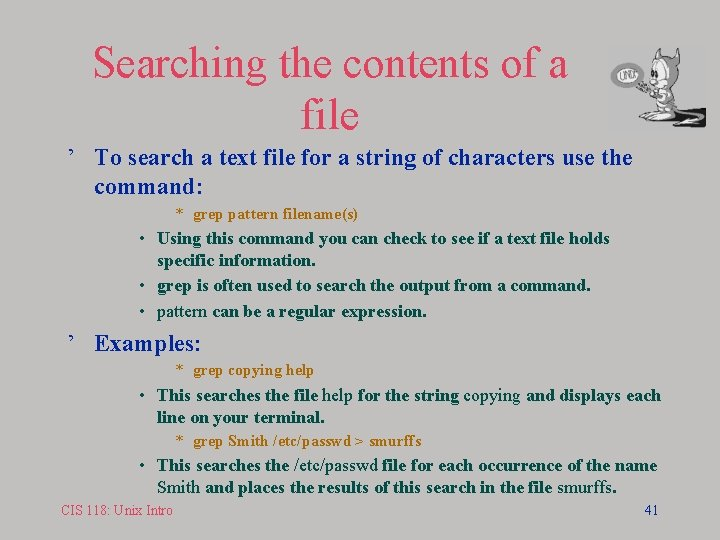 Searching the contents of a file ' To search a text file for a