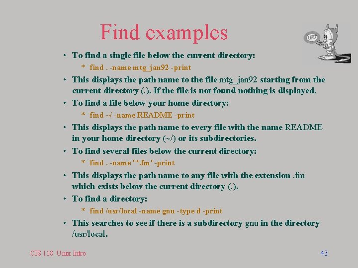 Find examples • To find a single file below the current directory: * find.