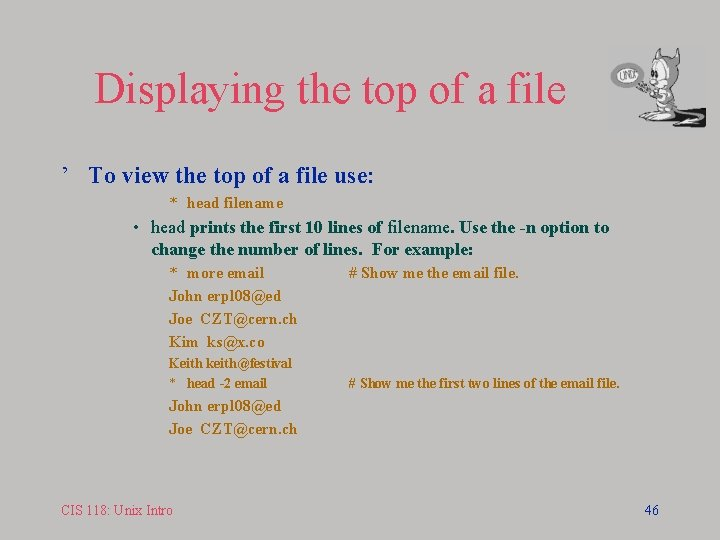 Displaying the top of a file ' To view the top of a file