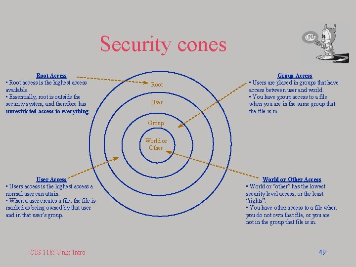 Security cones Root Access • Root access is the highest access available. • Essentially,