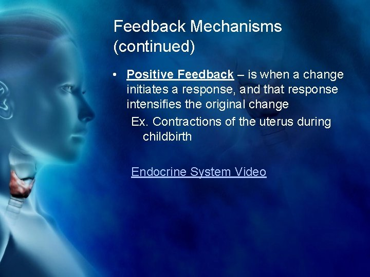 Feedback Mechanisms (continued) • Positive Feedback – is when a change initiates a response,