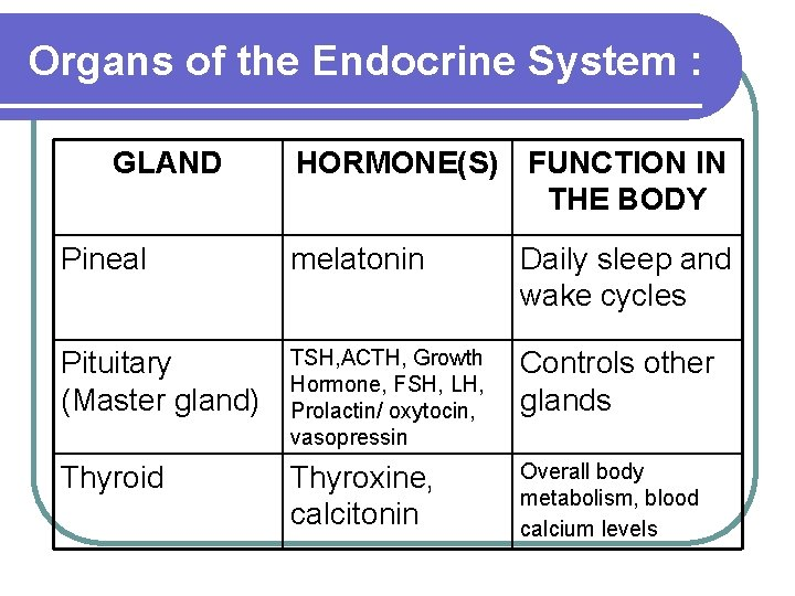 Organs of the Endocrine System : GLAND HORMONE(S) FUNCTION IN THE BODY Pineal melatonin