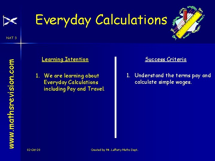 Everyday Calculations www. mathsrevision. com NAT 3 Learning Intention Success Criteria 1. We are