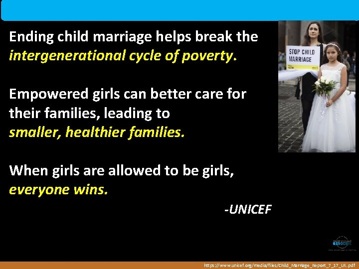 Ending child marriage helps break the intergenerational cycle of poverty. Empowered girls can better