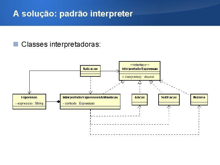 A solução: padrão interpreter Classes interpretadoras: