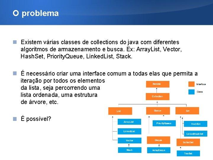 O problema Existem várias classes de collections do java com diferentes algoritmos de armazenamento