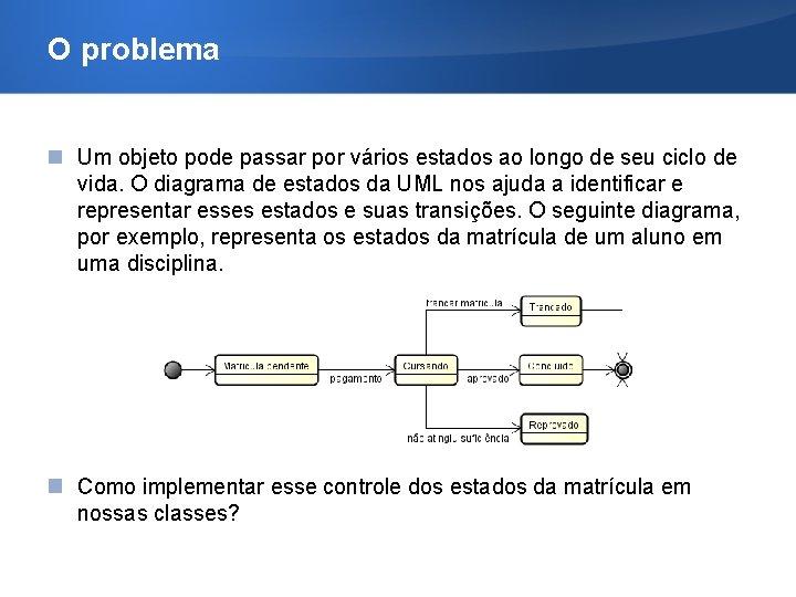 O problema Um objeto pode passar por vários estados ao longo de seu ciclo