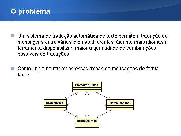 O problema Um sistema de tradução automática de texto permite a tradução de mensagens