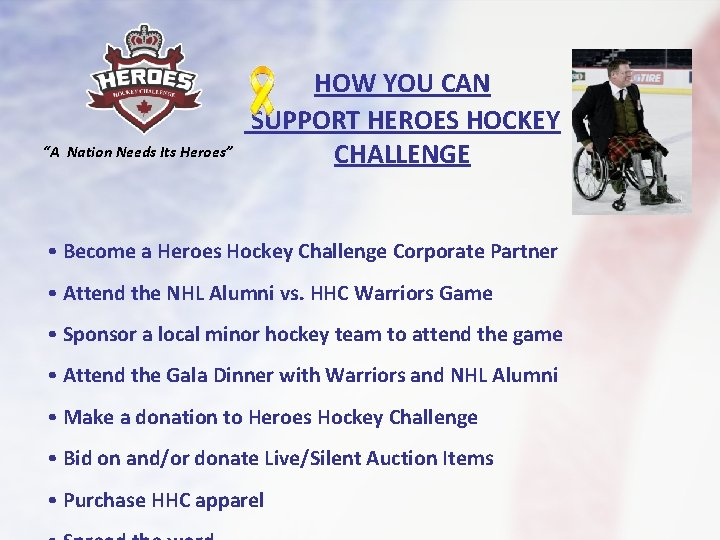 """""""A Nation Needs Its Heroes"""" HOW YOU CAN SUPPORT HEROES HOCKEY CHALLENGE • Become"""