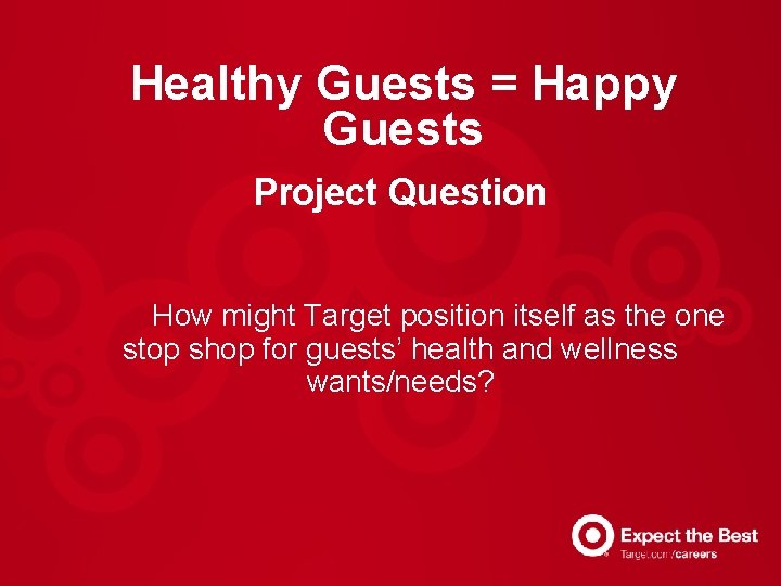 Healthy Guests = Happy Guests Project Question How might Target position itself as the