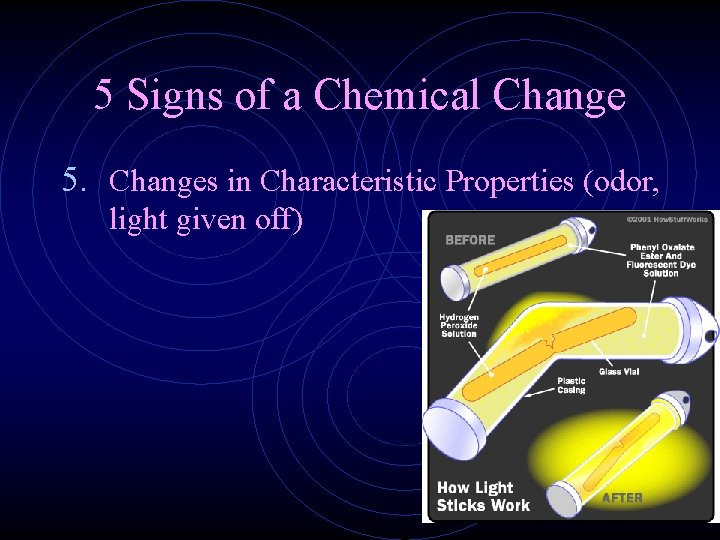 5 Signs of a Chemical Change 5. Changes in Characteristic Properties (odor, light given
