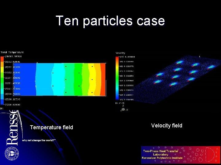 Ten particles case Temperature field Velocity field