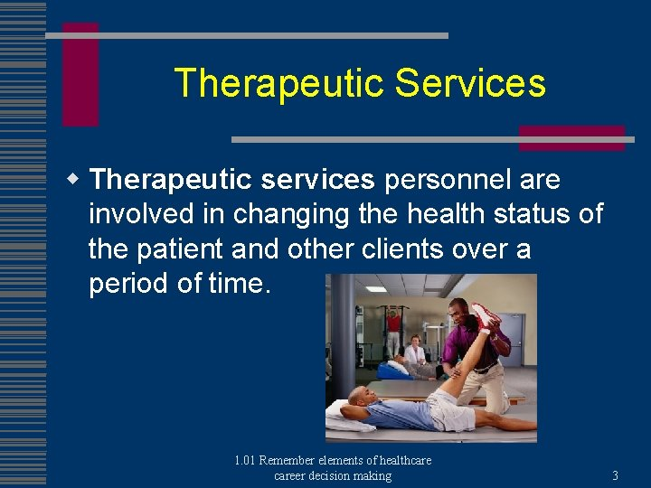 Therapeutic Services w Therapeutic services personnel are involved in changing the health status of