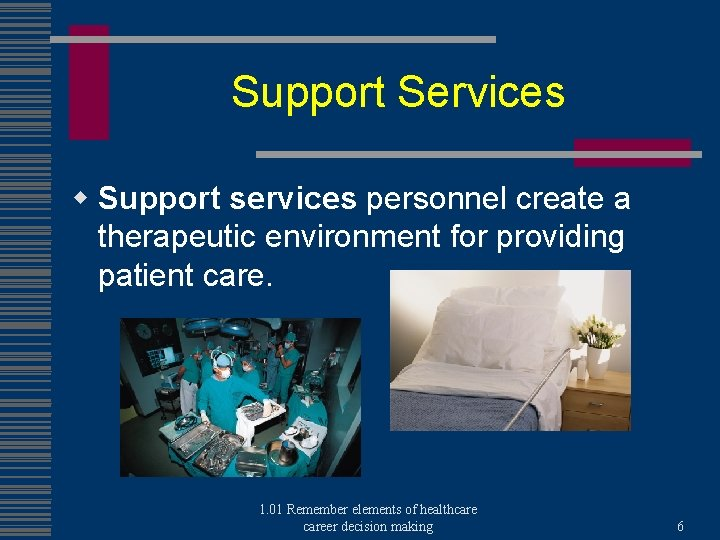 Support Services w Support services personnel create a therapeutic environment for providing patient care.