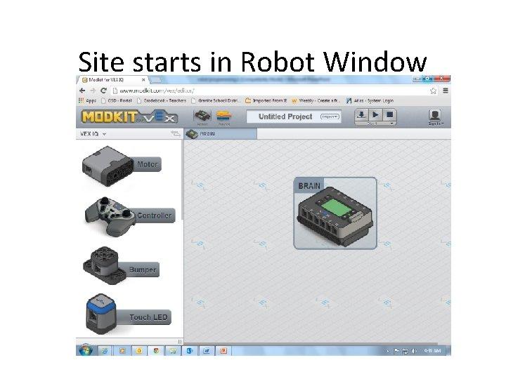 Site starts in Robot Window