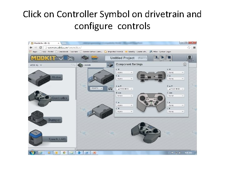 Click on Controller Symbol on drivetrain and configure controls