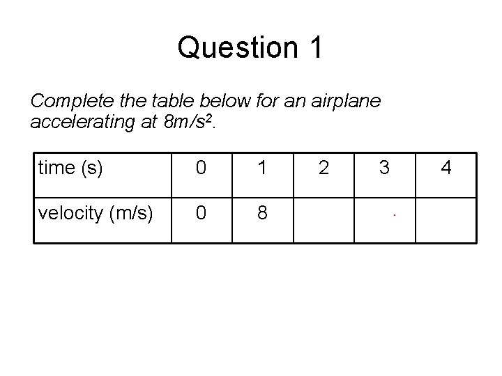 Question 1 Complete the table below for an airplane accelerating at 8 m/s 2.