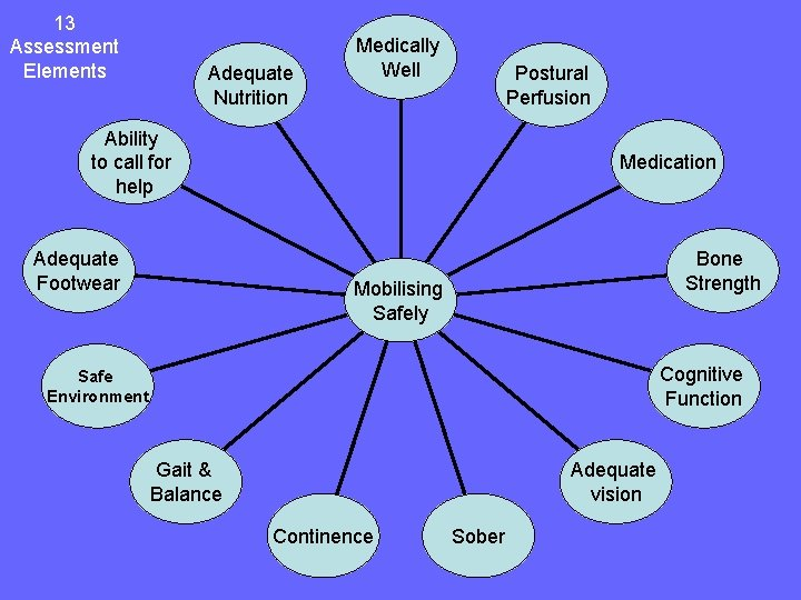 13 Assessment Elements Adequate Nutrition Medically Well Postural Perfusion Ability to call for help
