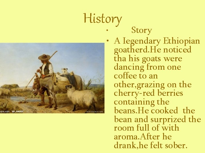 History Story • A Iegendary Ethiopian goatherd. He noticed tha his goats were dancing