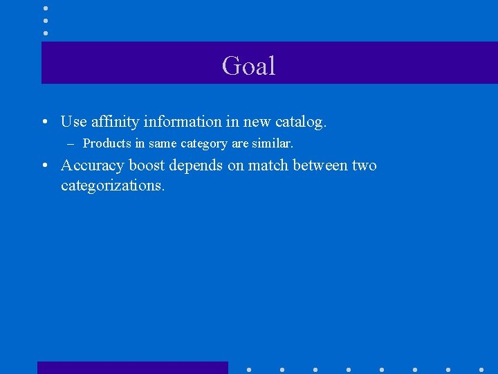 Goal • Use affinity information in new catalog. – Products in same category are