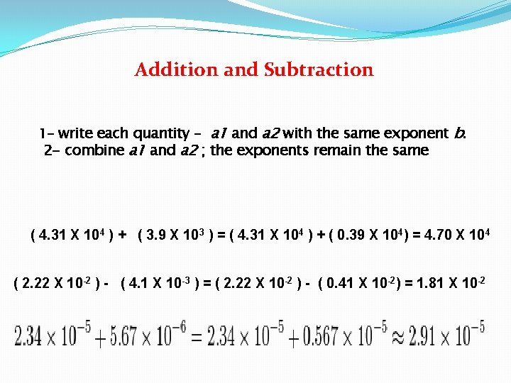 Addition and Subtraction 1 - write each quantity – a 1 and a 2