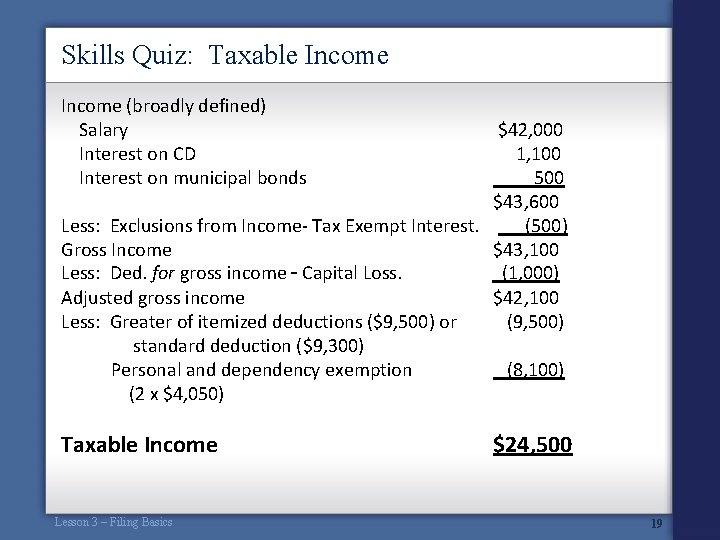 Skills Quiz: Taxable Income (broadly defined) Salary Interest on CD Interest on municipal bonds
