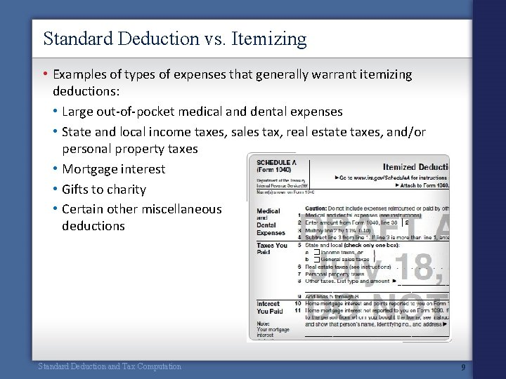 Standard Deduction vs. Itemizing • Examples of types of expenses that generally warrant itemizing