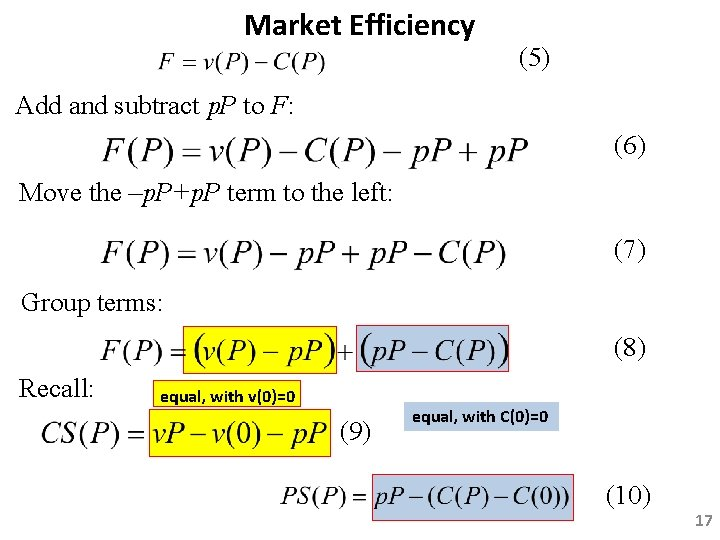 Market Efficiency (5) Add and subtract p. P to F: (6) Move the –p.